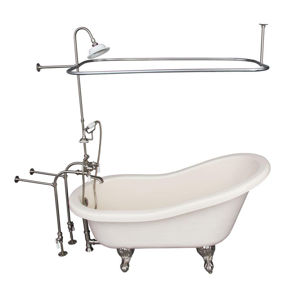 Barclay Products 5 ft. Acrylic Ball and Claw Feet Slipper Tub in Bisque with Brushed Nickel Accessories