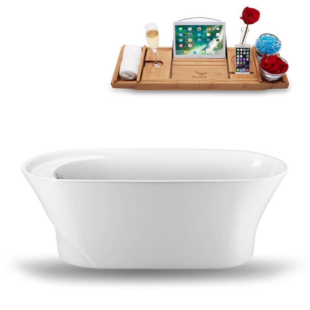 Streamline 59.1 in. Acrylic Fiberglass Flatbottom Non-Whirlpool Bathtub in White, Glossy White