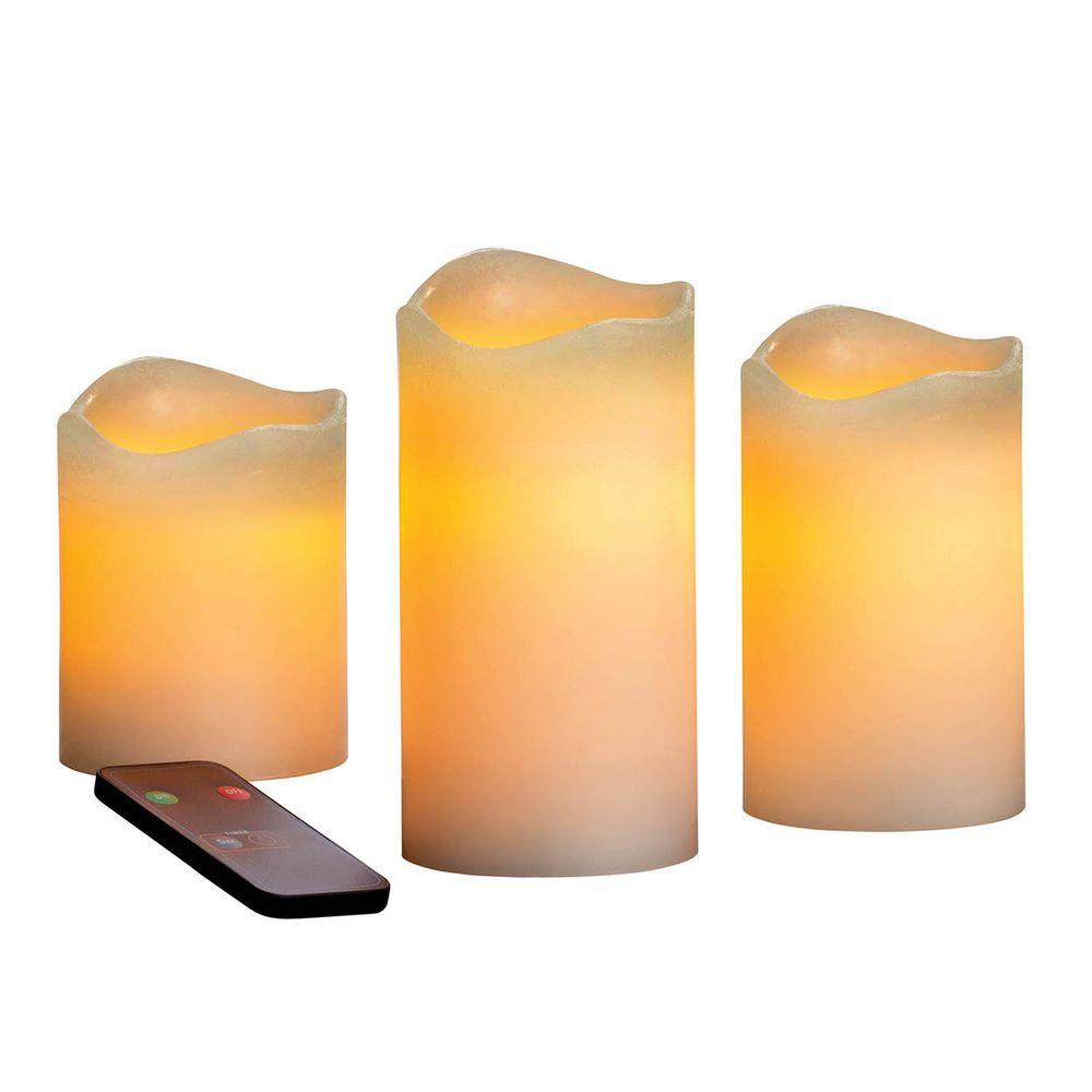 Inglow Inglow Flameless LED Pillar Candle Set with Remote Control and Vanilla Scent (3-Pack)