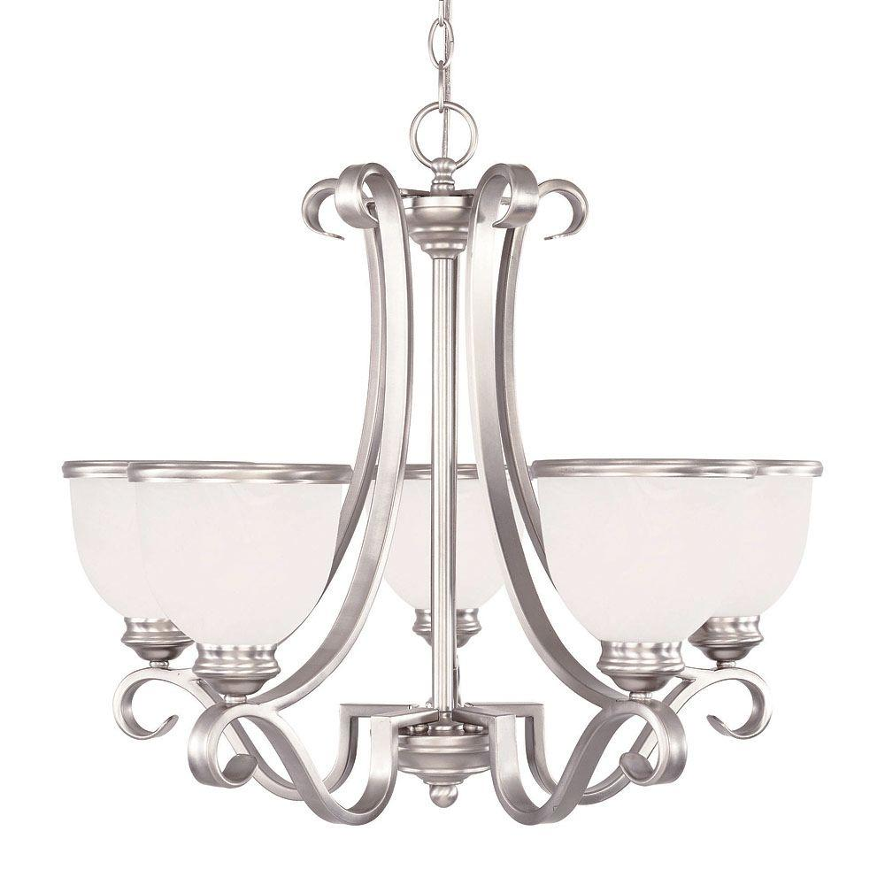 separation shoes 0afa1 aba58 Illumine 5-Light Chandelier Pewter Finish White Marble Glass