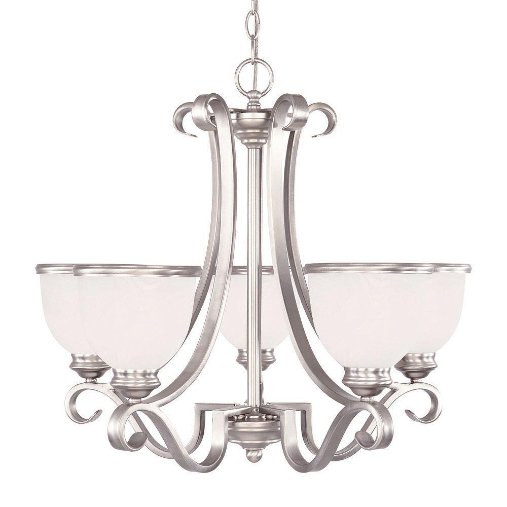 5-Light Chandelier Pewter Finish White Marble Glass