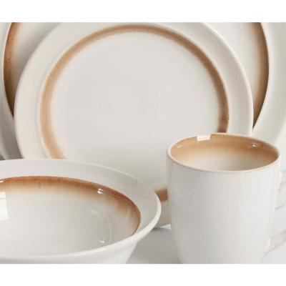 Lawson 16-piece White-Brown Reactive Glaze Dinnerware Set