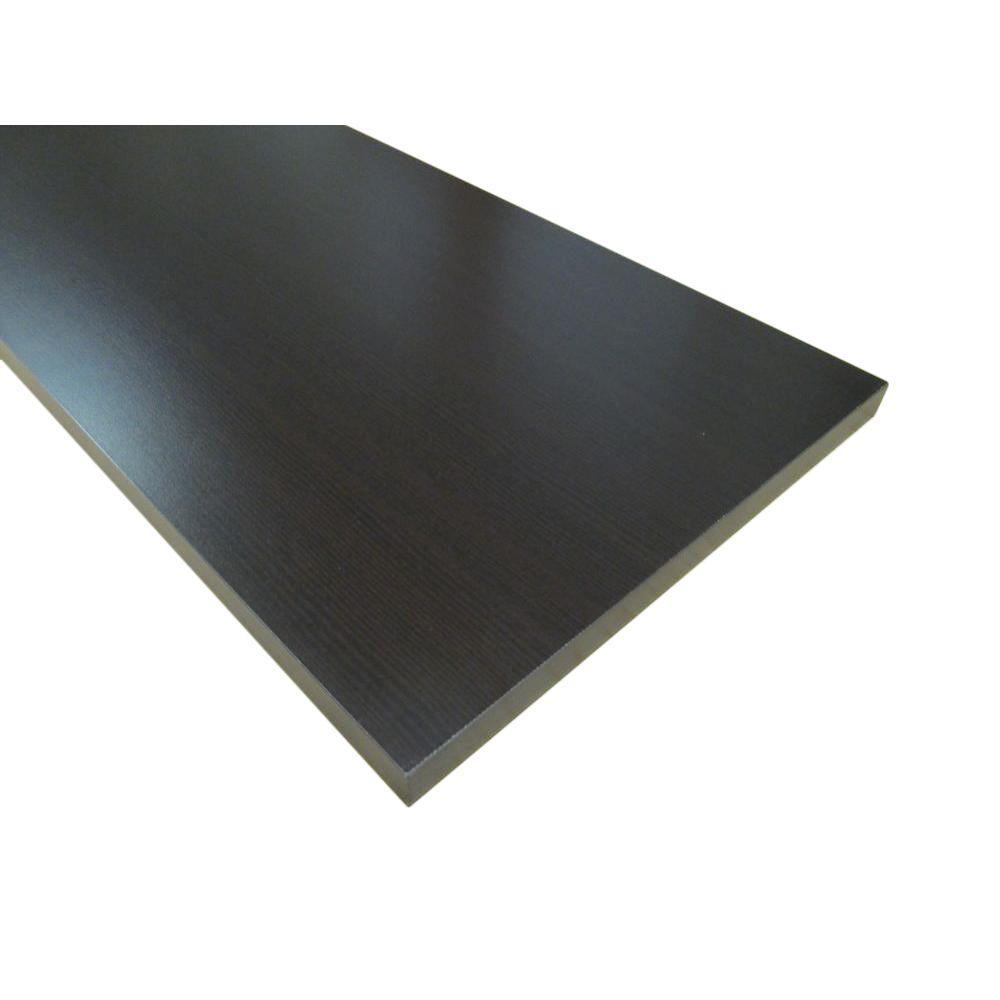 null 3/4 in. x 12 in. x 72 in. Espresso Thermally-Fused Melamine Shelf