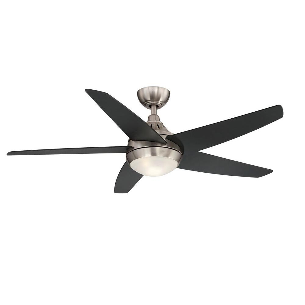 Hampton Bay Etris LED 52 in. Brushed Nickel Ceiling Fan