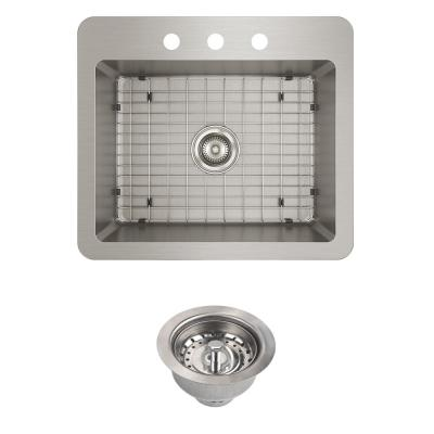 Avenue Drop-In/Undermount Stainless Steel 25 in. Single Bowl Kitchen Sink with Bottom Grid and Drain