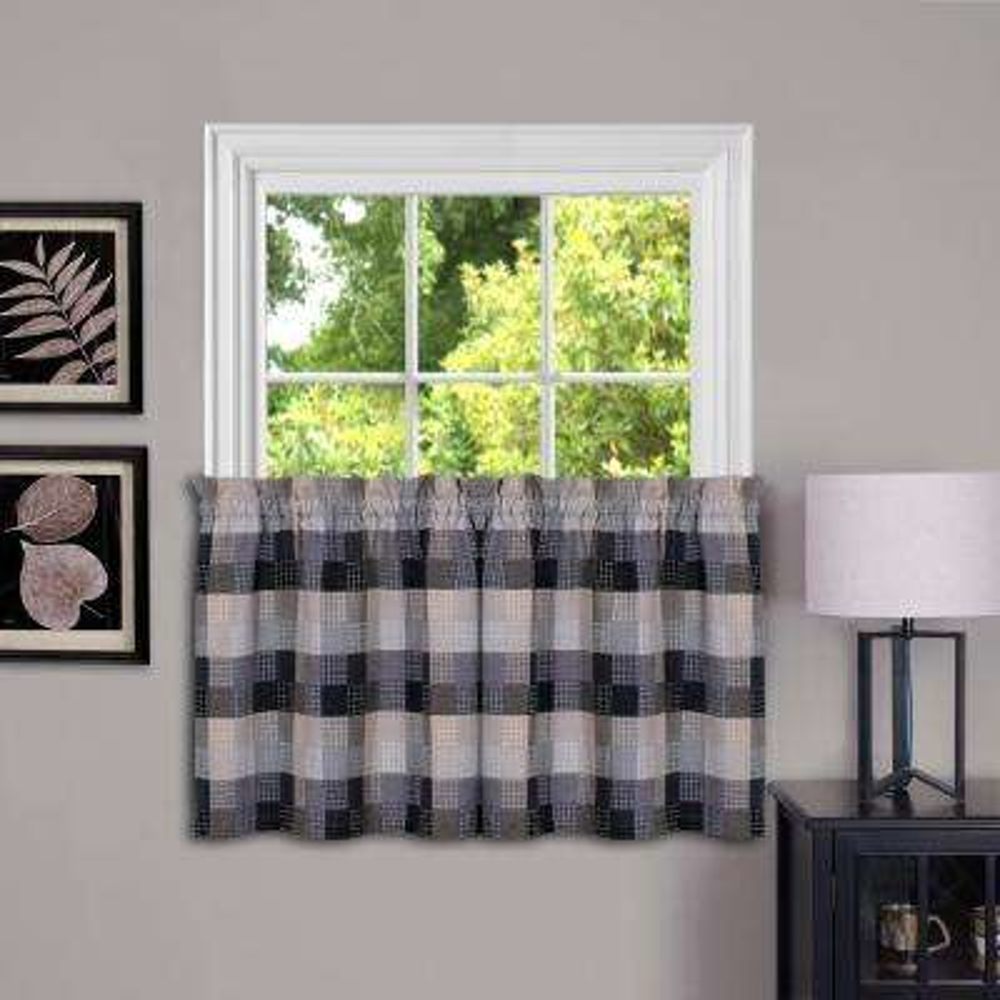 Harvard Black Polyester Window Tier - 57 in. W x 36 in. L (2-Pair)
