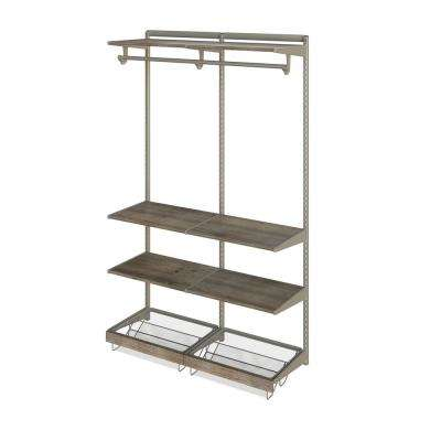 Closet Culture 16 in. D x 48 in. W x 78 in. H  with 6 Driftwood Wood Shelves Steel Closet System