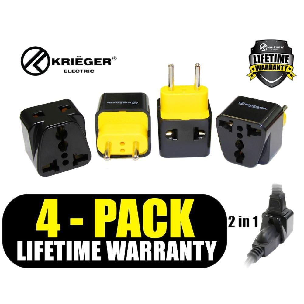 Universal to European 2-in-1 Plug Adapter (4-Pack)