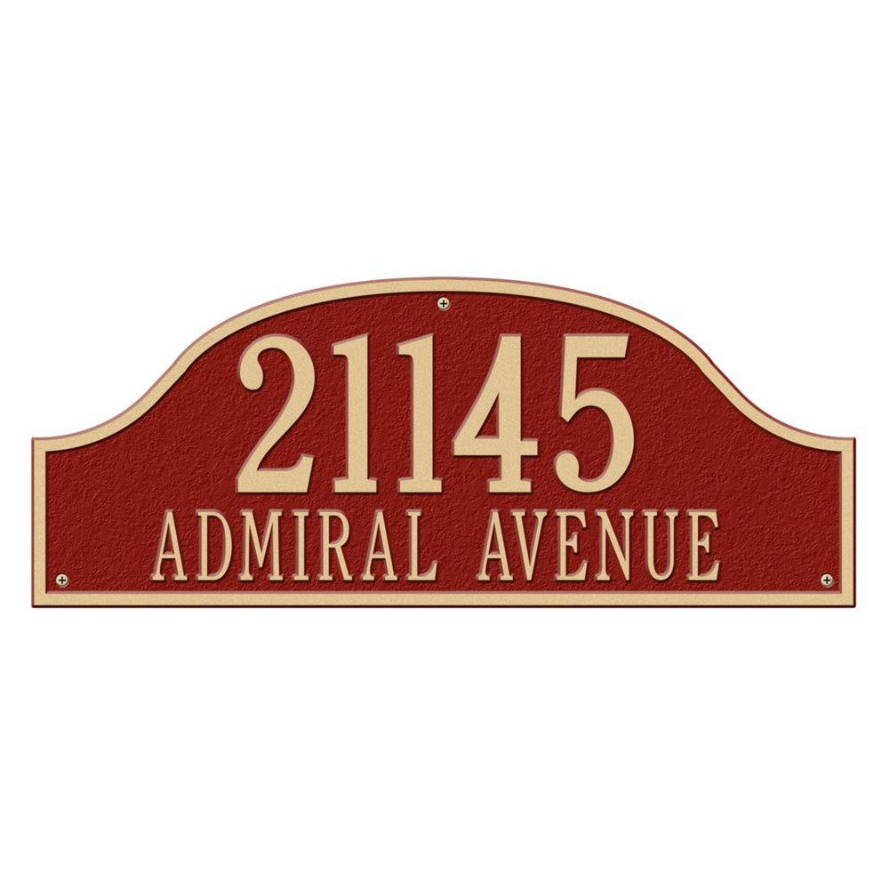 Admiral Estate Arch Red/Gold Wall Two Line Address Plaque