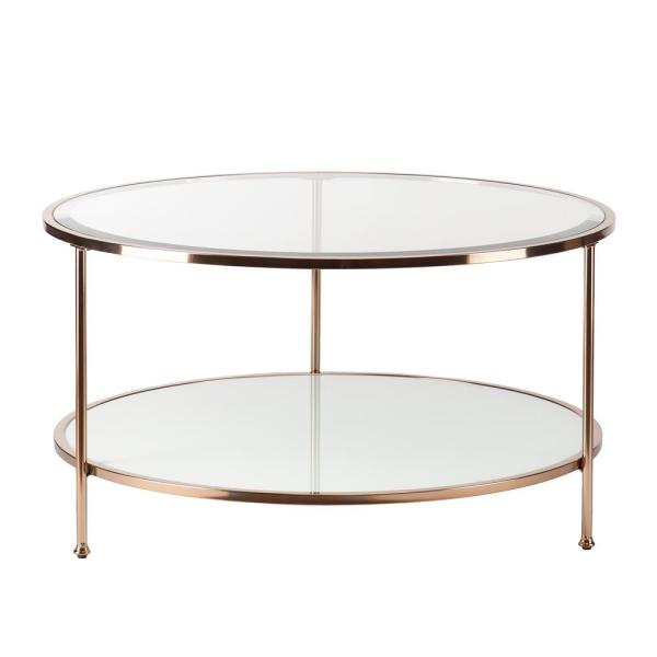 Cherlize 34 in. Metallic Gold/White Medium Oval Glass Coffee Table with Shelf