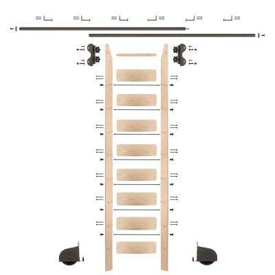 9 ft. Maple Library Ladder (10 ft. Reach) Bronze Contemporary Rolling Hardware 12 ft. Rail and Horizontal Brackets
