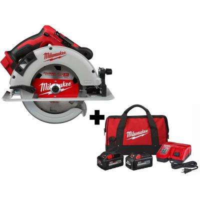 M18 18-Volt 7-1/4 in. Lithium-Ion Brushless Cordless Circular Saw with 6.0 Ah HIGH OUTPUT Battery, Bag, Charger