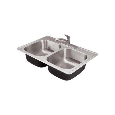 Colony Pro Drop-in Stainless Steel 33 in. Double Bowl Prep Kitchen Sink Kit