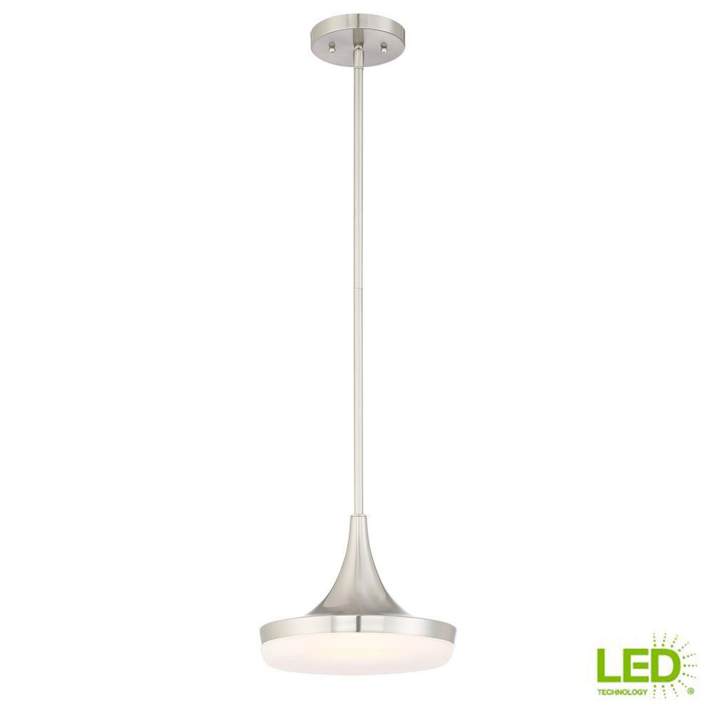 60-Watt Equivalent 10 in. Brushed Nickel Integrated LED Mini Pendant