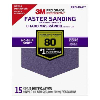 Pro Grade Precision 9 in. x 11 in. 80 Grit Coarse Faster Sanding Sheets (15-Pack)