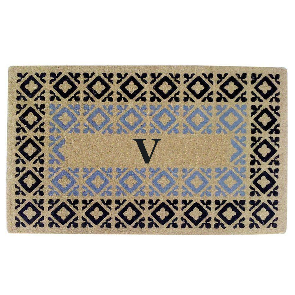 Creative Accents Crispin Blue and Black 22 in. x 36 in. HeavyDuty Coir Monogrammed V Door Mat