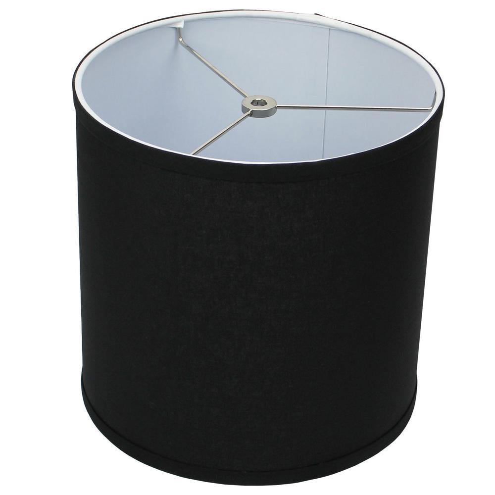 10 in. Top Diameter x 10 in. H x 10 in. Bottom Diameter Linen Black Drum Lamp Shade