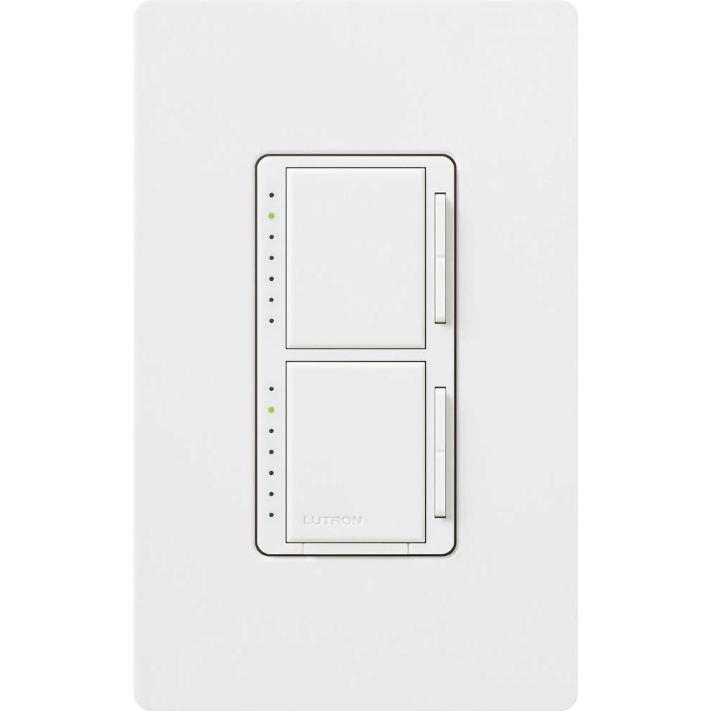Maestro 300-Watt Single Pole Dual Dimmer with Wall Plate - White