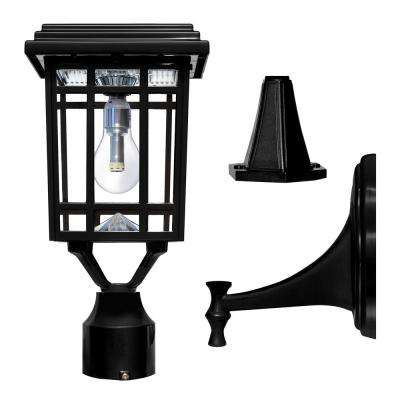 Prairie Bulb Single Black Integrated Led Outdoor Solar Post Light With 3 Mounting Options Er