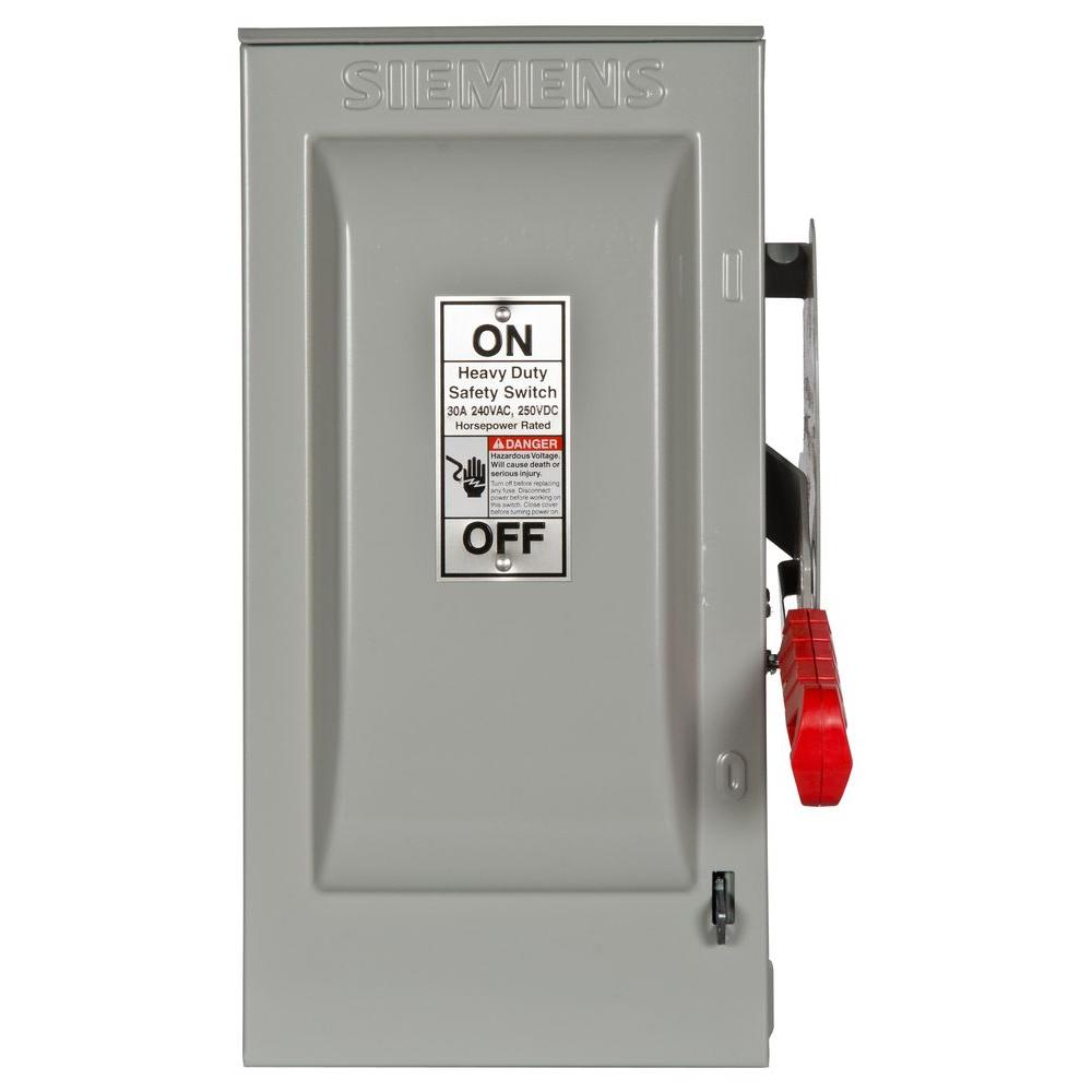 Heavy Duty 30 Amp 240-Volt 3-Pole Outdoor Fusible Safety Switch with