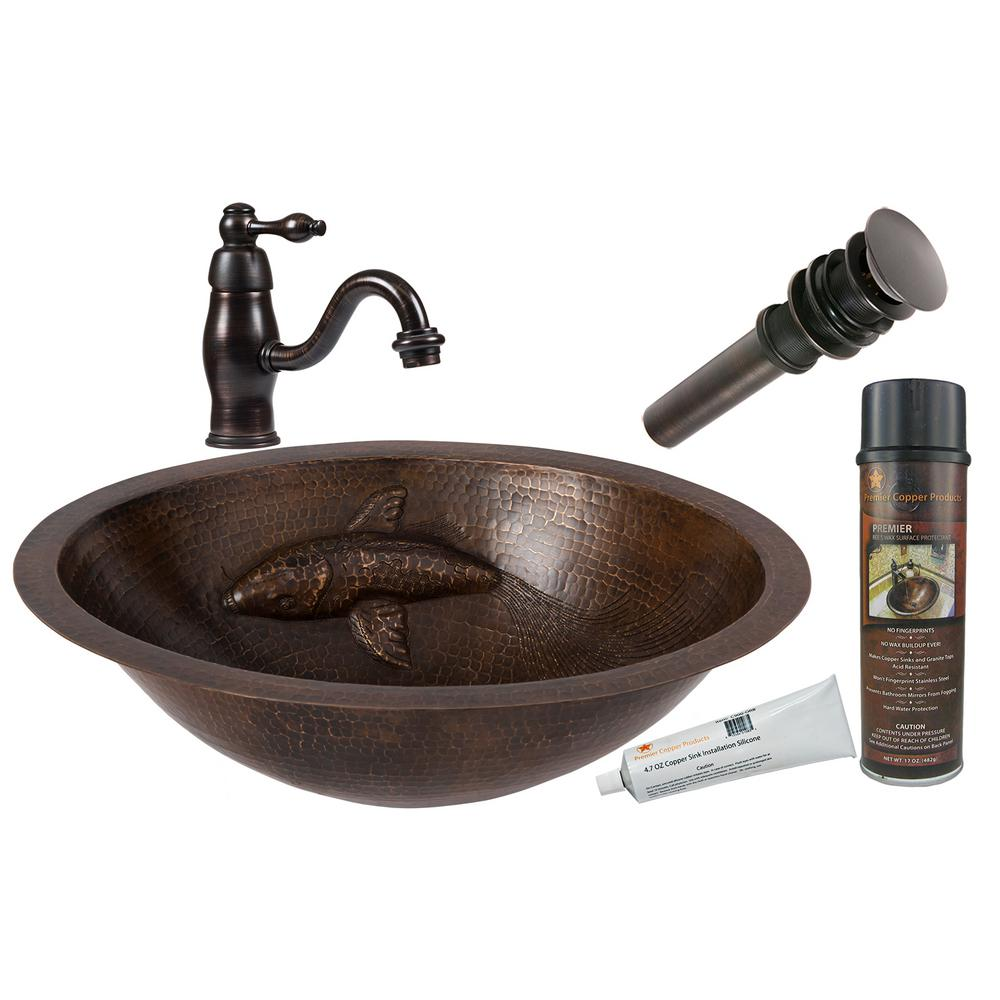 Premier Copper Products All In One Oval Copper Bathroom Sink With One Large  Koi