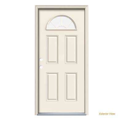 32 in. x 80 in. Fan Lite Primed Steel Prehung Right-Hand Inswing Front Door w/Brickmould