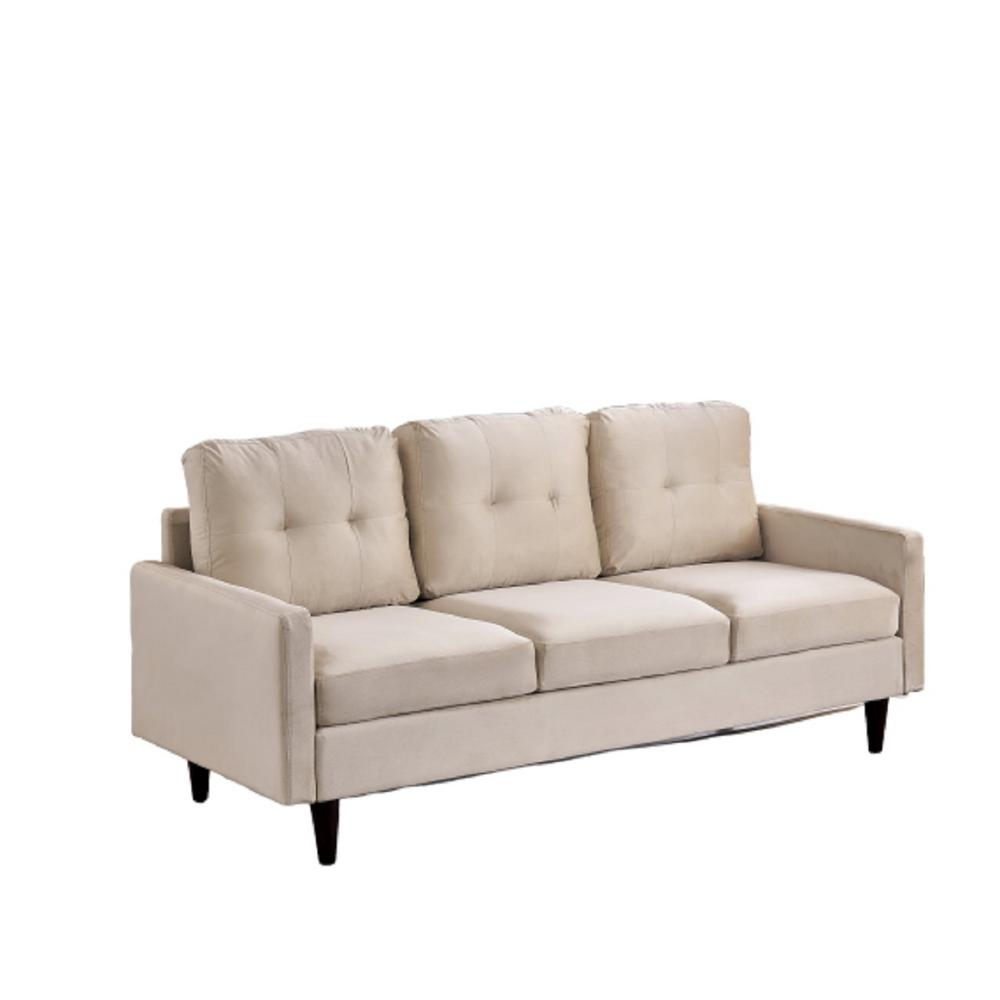 Sofia 71 in. Ivory Velvet 3-Seater Lawson Sofa with Removable Cushions