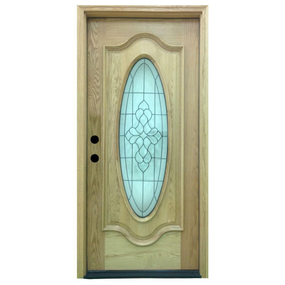 Steves & Sons 36 in. x 80 in. Tyler Full Oval Stained Oak Wood Prehung Front Door
