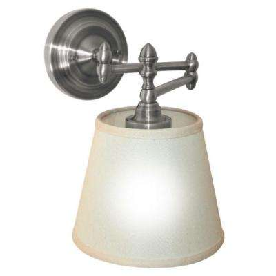 Satin Nickel Indoor/Outdoor LED Swing Arm Reading Light with Remote