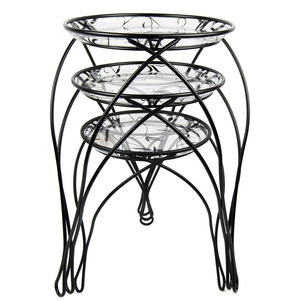 Plastec 13 in. x 17 in. x 21 in. Black Assortment Plant Stand