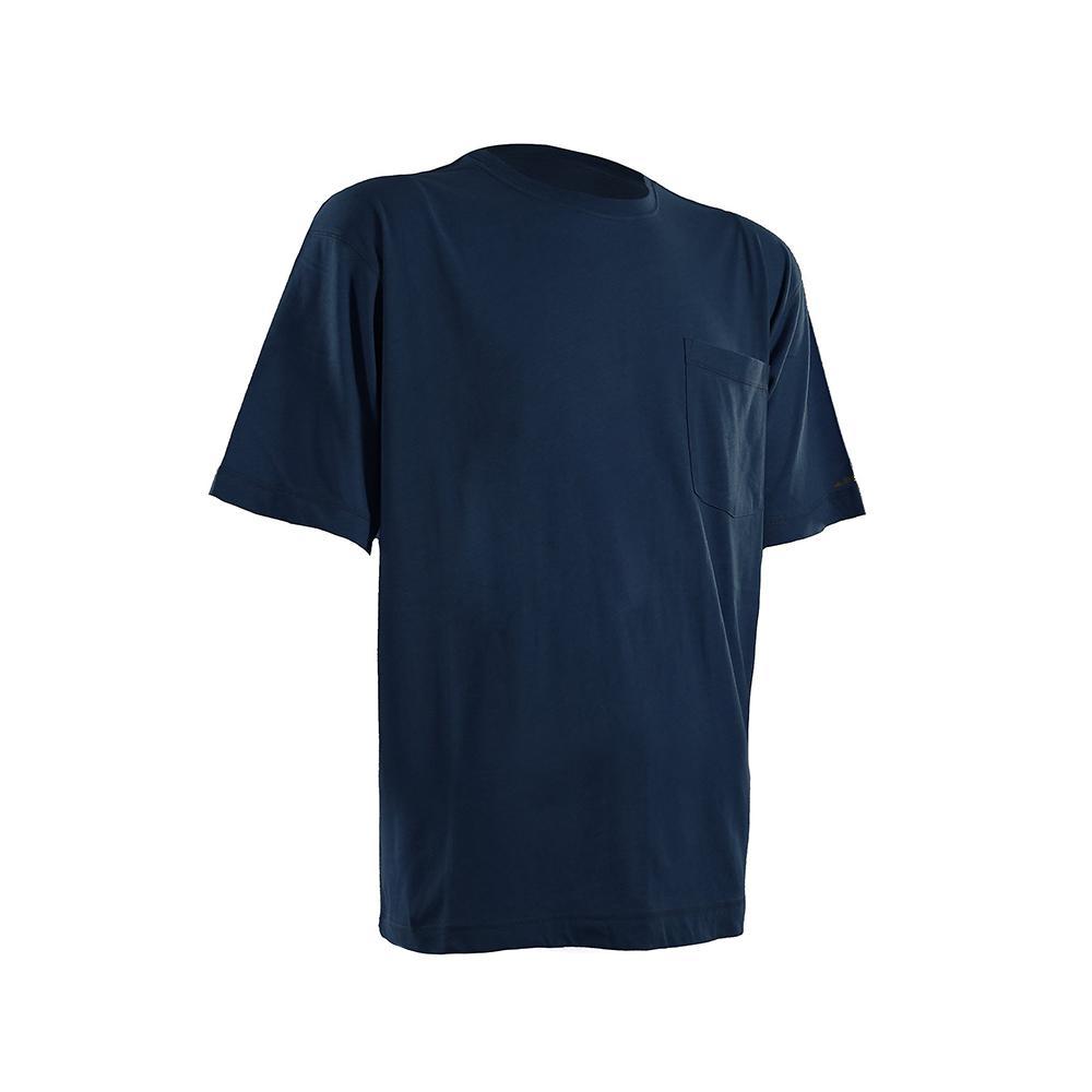 Men's 5 XL Tall Navy Cotton and Polyester Light-Weight Performance T-Shirt