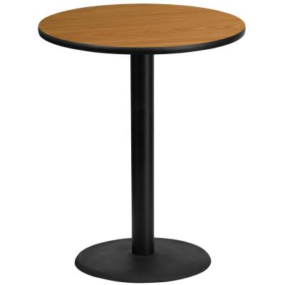 36 in. Round Black and Natural Laminate Table Top with 24 in. Round Bar Height Table Base