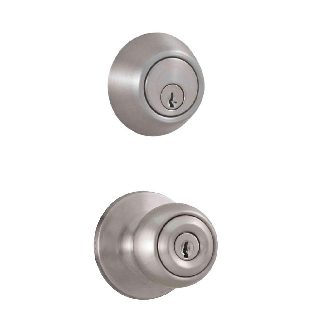 Weslock Premiere Essentials Combo Single Cylinder Deadbolt with Hudson Knob in Satin Nickel