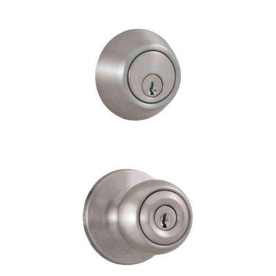 Premiere Essentials Combo Single Cylinder Deadbolt with Hudson Knob in Satin Nickel