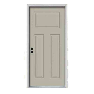 34 in. x 80 in. 3-Panel Craftsman Desert Sand Painted Steel Prehung Right-Hand Inswing Front Door w/Brickmould