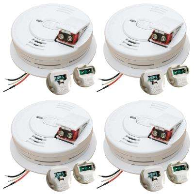 Hardwire Smoke Detector with 9V Battery Backup, Adapters, Ionization Sensor, and 1-button test/hush  (4-pack)