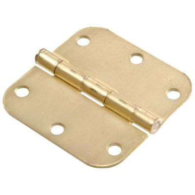 3 in. Satin Brass Residential Door Hinge with 5/8 in. Round Corner Removable Pin Full Mortise (9-Pack)