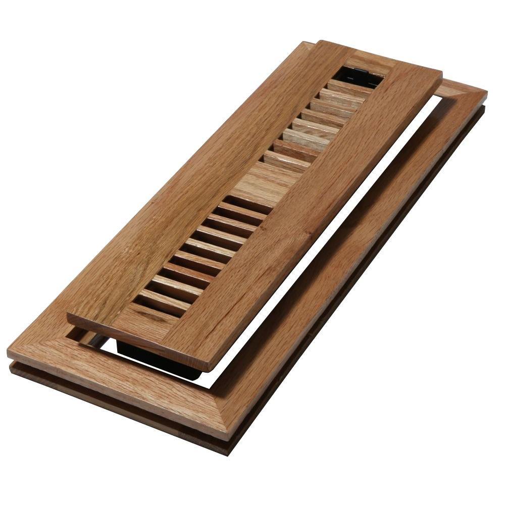 Decor Grates 2 in. x 12 in. Wood Natural Oak Louvered Design Flush Mount Floor Register