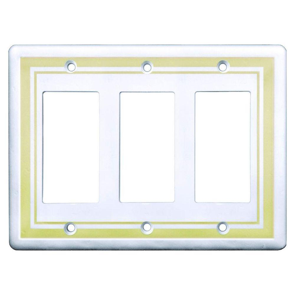 Hampton Bay Color Decor 3 Combination Wall Plate, Decora Beige-SWP107-08 - The Home Depot