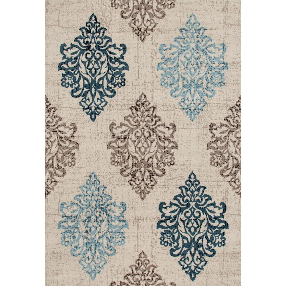 Elegant World Rug Gallery Transitional Damask High Quality Soft Blue 3 Ft. 3 In. X