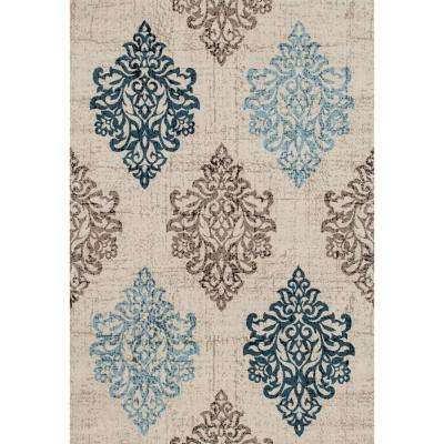 Transitional Damask High Quality Soft Blue 5 ft. x 7 ft. Area Rug