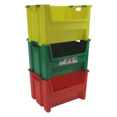 13 Gal. Pack N Stack Storage Tote (3-Pack)