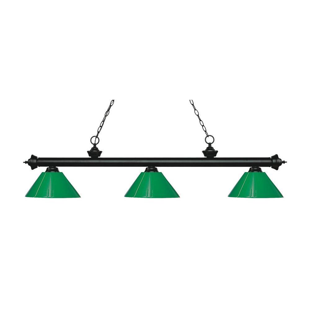 Ferrini 3-Light Matte Black Island Light with Green Shades