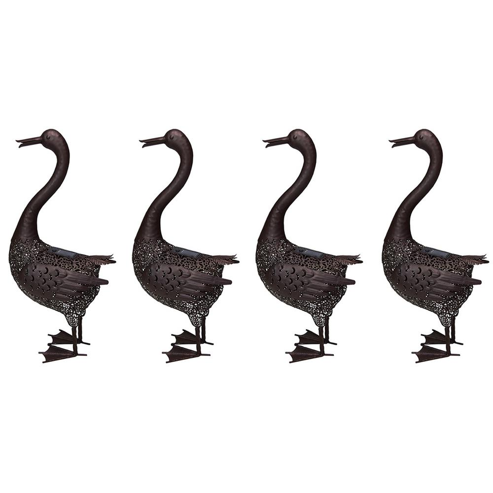 24 in. Steel Indoor/Outdoor Animal Garden Duck Metal Sculpture Statue with