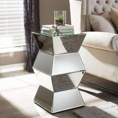 Sakina Glam Silver Metallic Finished End Table