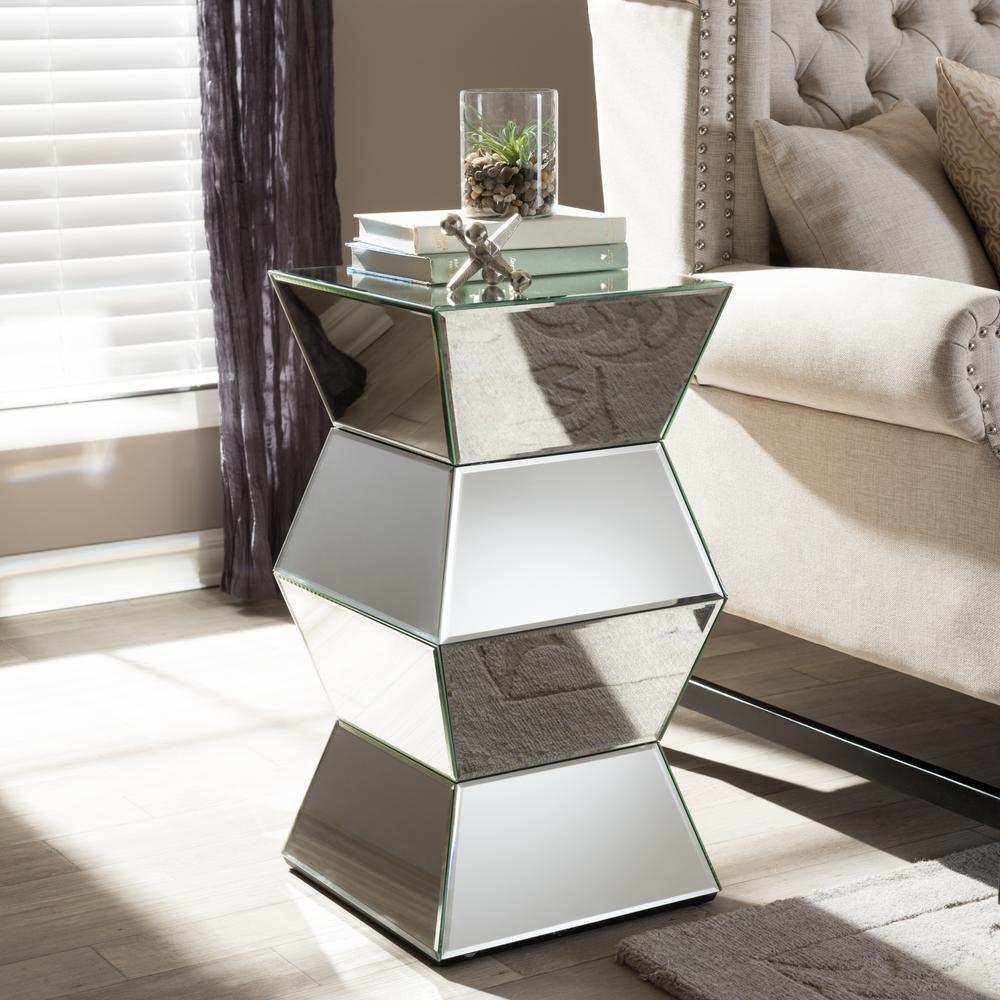 Baxton Studio Sakina Glam Silver Metallic Finished End Table 28862-6185-HD