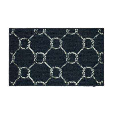 Coastal Rope Lattice Navy 2 ft. x 3 ft. Indoor/Outdoor Area Rug