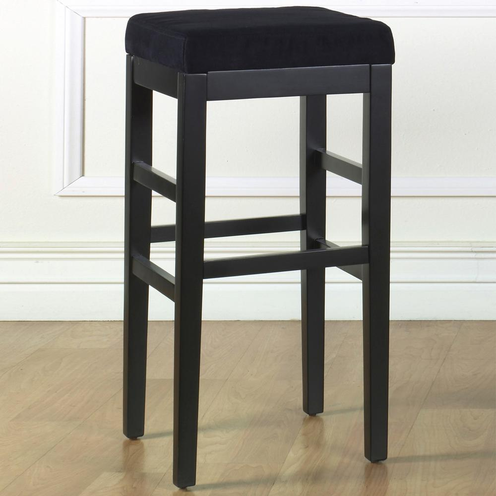 Charmant Armen Living Sonata 26 In. Black Microfiber And Black Finish Backless  Barstool