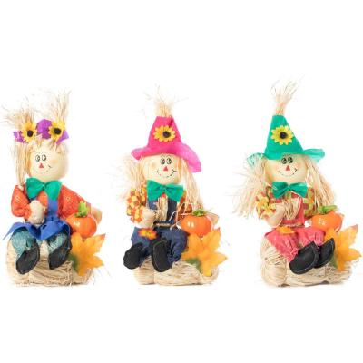 Garden Scarecrows Sitting on Hay Bale (Set of 3)