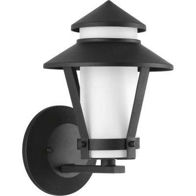 Via Collection 1-Light Black Fluorescent Outdoor Wall Lantern